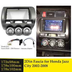 For Honda Jazz GD 2 DIN facia Fascia Kit + ISO Wiring Harness + Antenna Adaptor