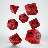 Red & black DRAGON dice set by Q-workshop for D&D RPG fantasy