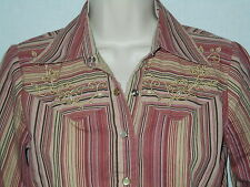 Western Cowgirl Blouse S Womens 6 Top Pearl Snaps Striped Shirt 3/4 Sleeve 6w2