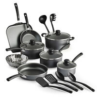 18 Piece Non-stick Cookware Set Pots Pans Steamer Cooking Kitchen Utensils NEW