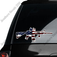 AR 15 Rifle Gun Firearm With Scope- American Flag - Vinyl Decal Sticker