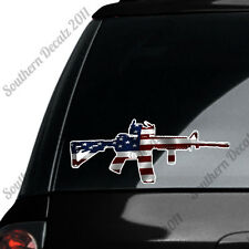 AR 15 Rifle With Scope- American Flag Design - Vinyl Decal Sticker