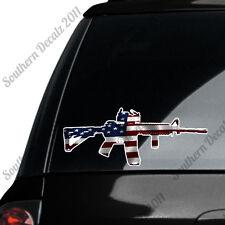 AR 15 Rifle Gun Firearm With Scope- American Flag - Vinyl Decal Sticker