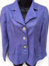 COLDWATER Creek Womens Linen Jacket Blazer Suit Size 6 Purple Long Sleeve Button