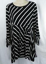 Black White Striped Tunic by RXB Top Long Sleeve Stretch Knit Medium