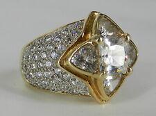 10K KT YELLOW GOLD & 5 CARAT TOTAL CZ COCKTAIL RING 14.4 GRAMS & SZ 7 AMAZING