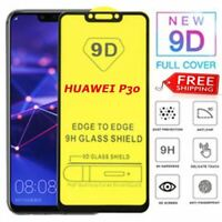 Tempered Glass FULL COVER FULL GLUE BLACK for HUAWEI P30 Screen Protector UK