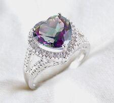 Genuine Mystic Topaz & Diamond Heart Ring 3.77ct 925 Sterling Silver Size 7 $570