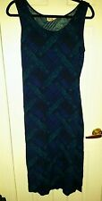Vtg 90s tartan plaid paisley floral dress blue green teal print maxi festival
