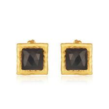 Faceted Black Onyx Stud Earrings 18k Gold Plated Brass Fashion Jewelry