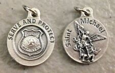 "SERVE - PROTECT St Michael / Police Officer Badge Oxidized Medal (3/4"" x 3/4"")"