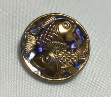 Vintage Glass Button - Mirror Back Iridescent Purple with Fish 11/16""