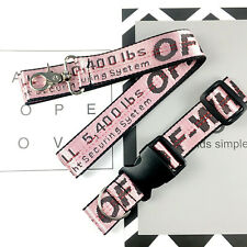 New listing Off White Pink Industrial Dog Cat Collar Lead Belt Strap Collar & Lead Sets Us
