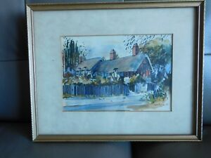Mid Century English John Corvin watercolor painting 1978 Anne Hathaways Cottage