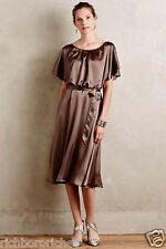 NEW Anthropologie bronzy brown silky HD in Paris Midi Satin Sash Dress 6