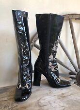 GUCCI Black Patent Leather Mid-Calf HorseBit Equestrian Heel Boots 5B Italy!!!