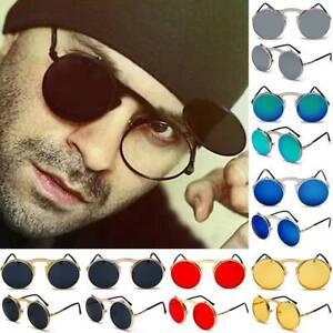 Herren Vintage Steampunk Sonnenbrille Polarisierte Runde Flip-Up Retro Brille