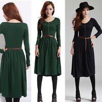 Women Autumn Winter Knit Long Sleeve Belt Casual Work Sweater Fitted Slim Dress