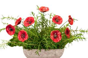 Red Ceramic Poppy Flower On Steel  Stem  Decor Florist Home Garden Ornament Gift