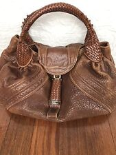 Authentic Fendi Brown Pebbled Leather Spy Hobo Bag Purse Tote
