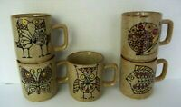 Vintage Stoneware 1970s Retro Five Brown Speckled Mugs Snail Fish Owl Butterfly