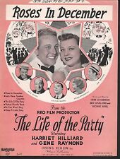 Roses in December 1937 The Life of the Party Harriet Hilliard Sheet Music