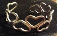 Vintage Sterling Silver Retro 1960's Caged Heart Cuff Solid & Strong Reg $150
