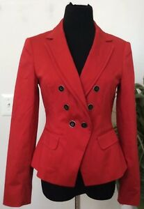 White / Black Women's Career Red Cotton Blend Blazer Jacket Size 6 EUC!