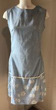 New listing New Vintage 60s Women Sleeveless Dress Union Label Gingham Flocked 14 Medium M