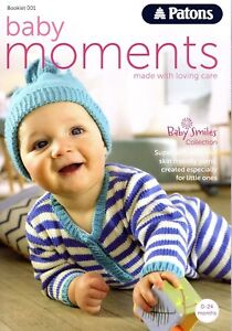 Patons Baby Moments book 001 0-24 months 80 pages Hats Bootees Socks Jackets ect