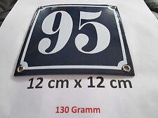 Hausnummer  Emaille Nr. 95  weisse Zahl auf blauem Hintergrund 12 cm x 12 cm