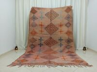 "Handmade Vintage Moroccan Rug 5'77""x8'72"" Berber Boujaad  Orange Carpet"