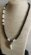 Mens Monochrome Natural Gemstone Necklace Surfer Ethnic Gloss Onyx Horn Feature