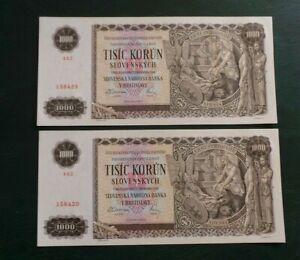 Slovakia, 2 Consecutive, Uncirculated, 1000 Korun Banknotes, 1940. #'s 158429/30