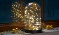 40 LED Firefly Glass Bell Dome Light Cloche Bell Fairy Lights Jar Home Decor