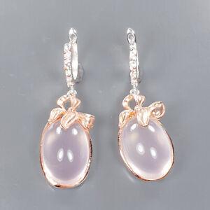 IF Sweet Design 60 ct Rose Quartz Earrings Silver 925 Sterling   /E57336