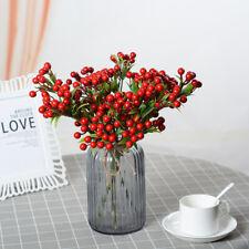 8 Stems Artificial Red Berries Christmas Ornament Wedding Home Xmas Decor Craft