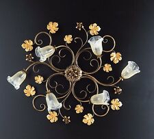 Ceiling Lamp Classic Wrought Iron Flowers Leaves Roses Gold Art Povera
