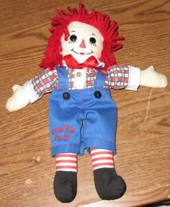"Applause Plush Raggedy Ann & Andy RAGGEDY ANDY ONLY 12"" Stuffed Animal Doll Boy"
