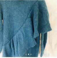 Emerald blue Alpaca Wool Cowl Neck Jumper Dress Sweater Tunic Lagenlook rib knit