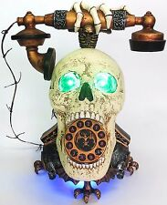 Skull Head Talking Telephone Phone Motion Sensor Light Up Eyes Rotary Dial Prop