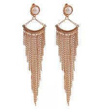 Lady Fashion Long Tassels Chain Fan Shape Statement Dangle Pearl Earring Stud