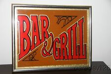 "Vintage ""Bar & Grill"" Bar Restaurant Glass Mirror 8x10 Sign"