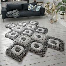 Hochflor-Teppich, Shaggy Für Wohnzimmer, Cut-Out-Design, 3-D-Muster, Grau