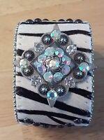 Western Cowgirl Wide Zebra Stripe Leather Hide Cuff Bangle Bracelet Adjustable
