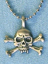 VAMPIRE SKULL and CROSSBONES PEWTER PENDANT MENS BOYS NECKLACE CHAIN   PC0226