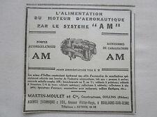 1938-39 PUB MARTIN MOULET OULLINS POMPE MOTEUR AERONAUTIQUE ORIGINAL AD