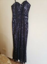Bariano Navy Blue Sequin Gown size 10