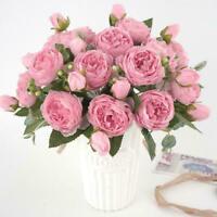 13 Heads Silk Peony Artificial Flowers Peony Wedding Home Decor Party E5C1