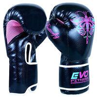 Evo Ladies Kick Boxing Gloves Gel MMA Muay Thai Training Sparring UFC Girls 4-14